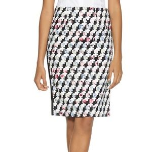 WHBM houndstooth mixed print pencil skirt